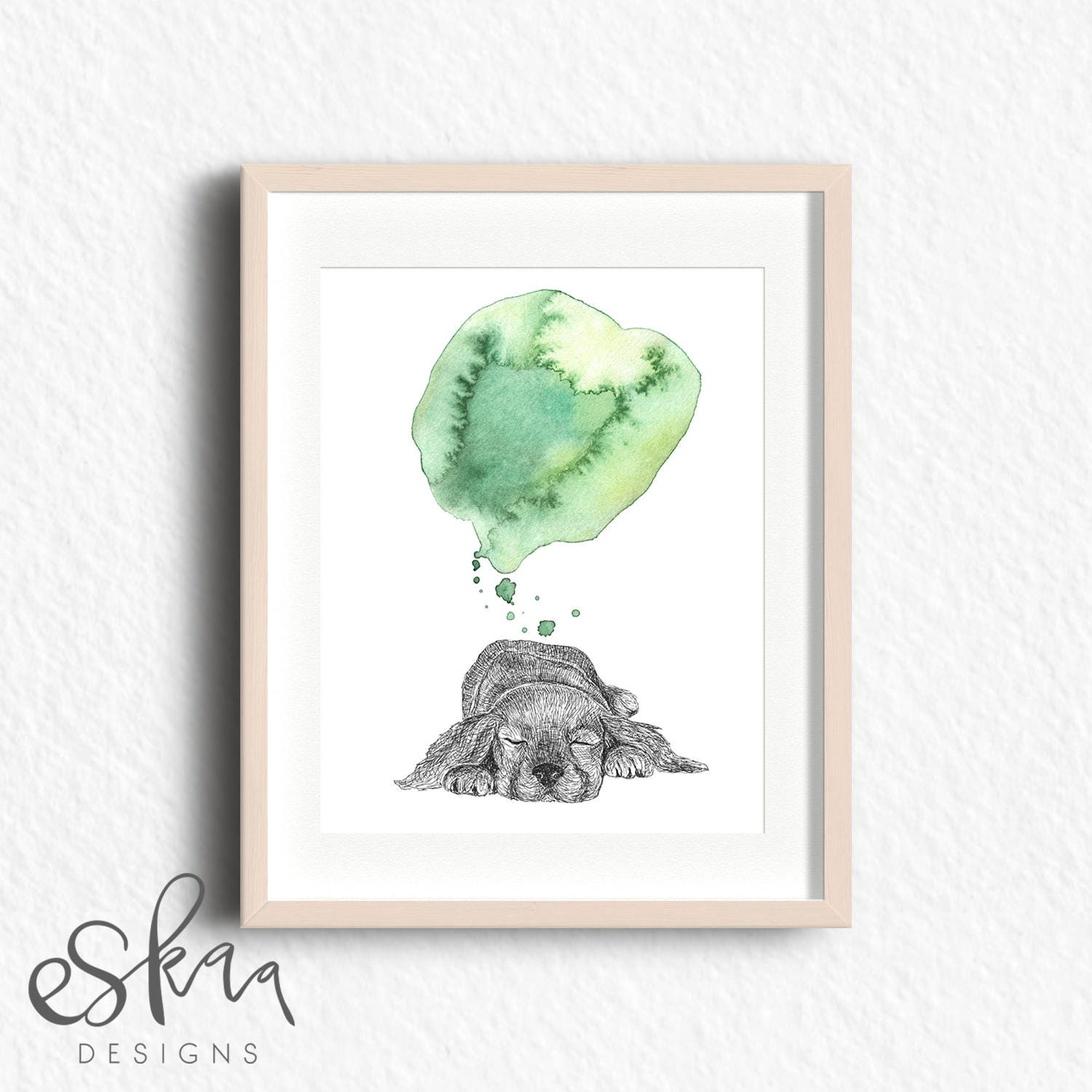 Dog Baby Decor Minimalist Watercolor Art Green Watercolor