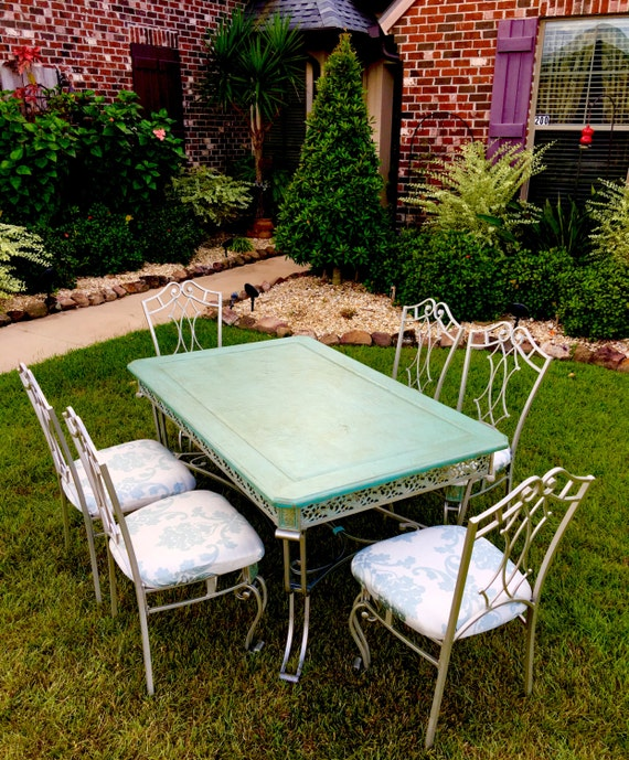 SOLD - Titanium Wrought Iron Kitchen Table & 6 Chairs