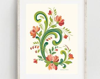 Rosemaling Red and Pink Print