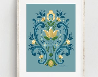 Rosemaling Blue and Gold Print