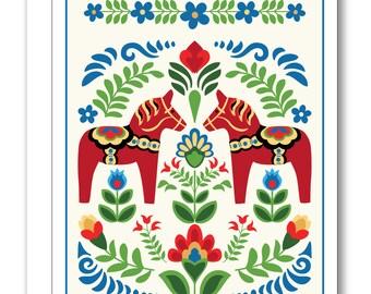 Swedish Folk Design Dala Horses Red BP37