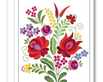 Hungarian Folk Design Greeting Card BP14