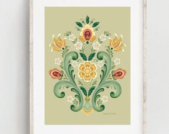 Rosemaling Green and Gold Print
