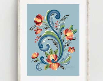 Rosemaling Blue and Red Print