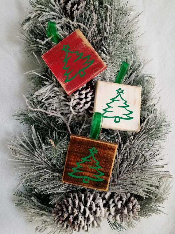 Rustic Christmas Ornaments Set Of 3 Wooden Handmade Christmas Tree Ornaments Christmas Decorations Christmas Signs Christmas Gift