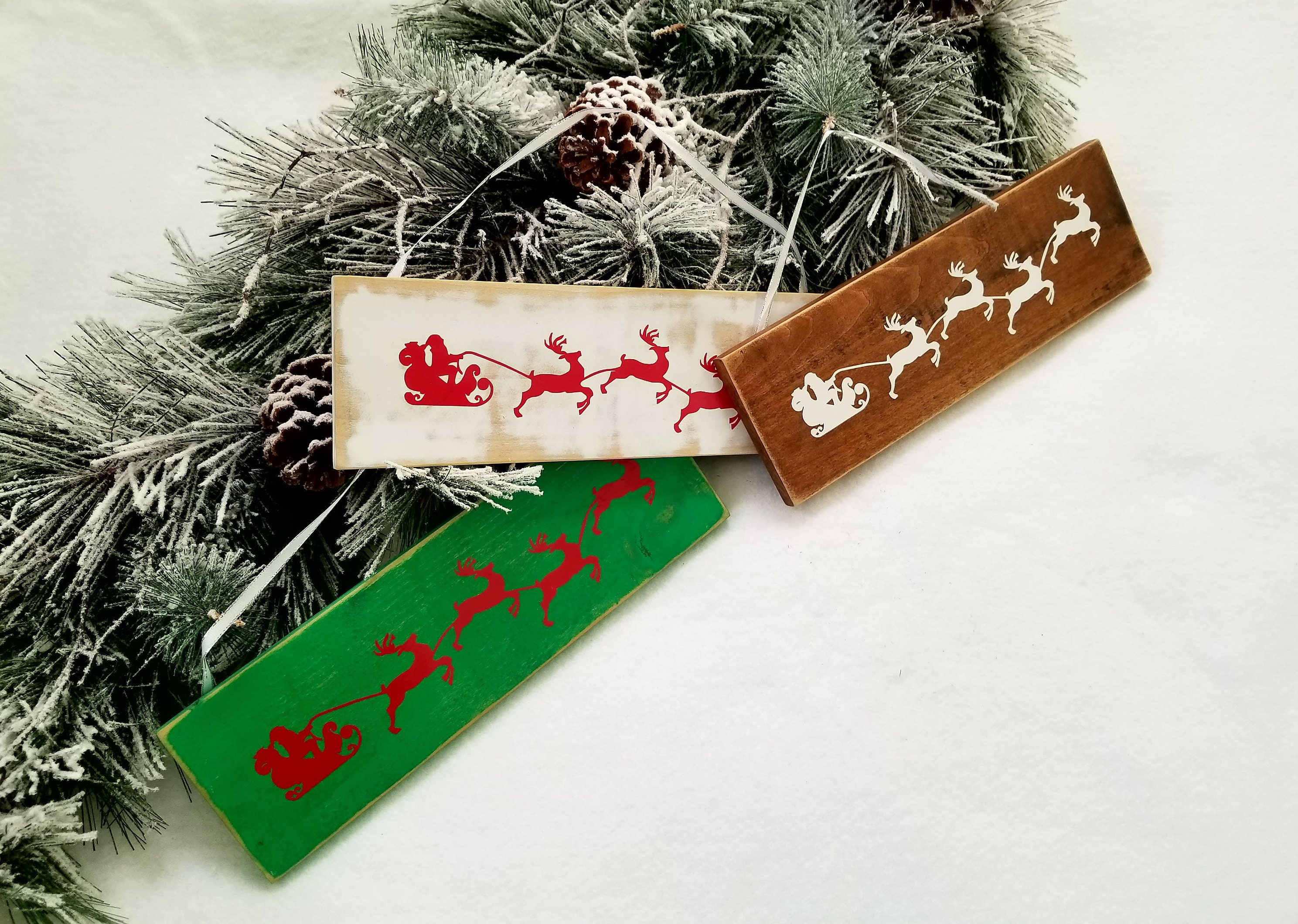 Santa sleigh sign. Rustic Christmas decorations. Wooden Handmade ...