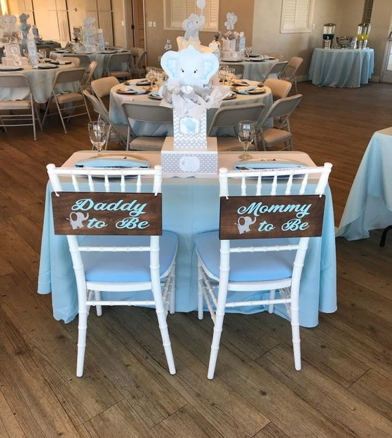 Mommy To Be Daddy To Be Wooden Signs Baby Shower Chair Signs Elephant Baby Shower Decorations