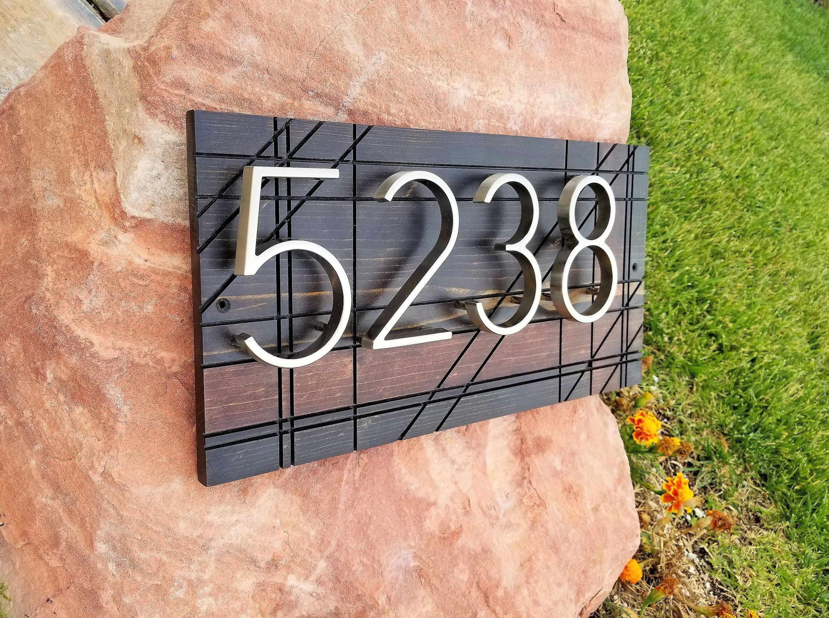 House Numbers Modern House Numbers Address Plaque Custom Wooden - Cheap metal house numbers
