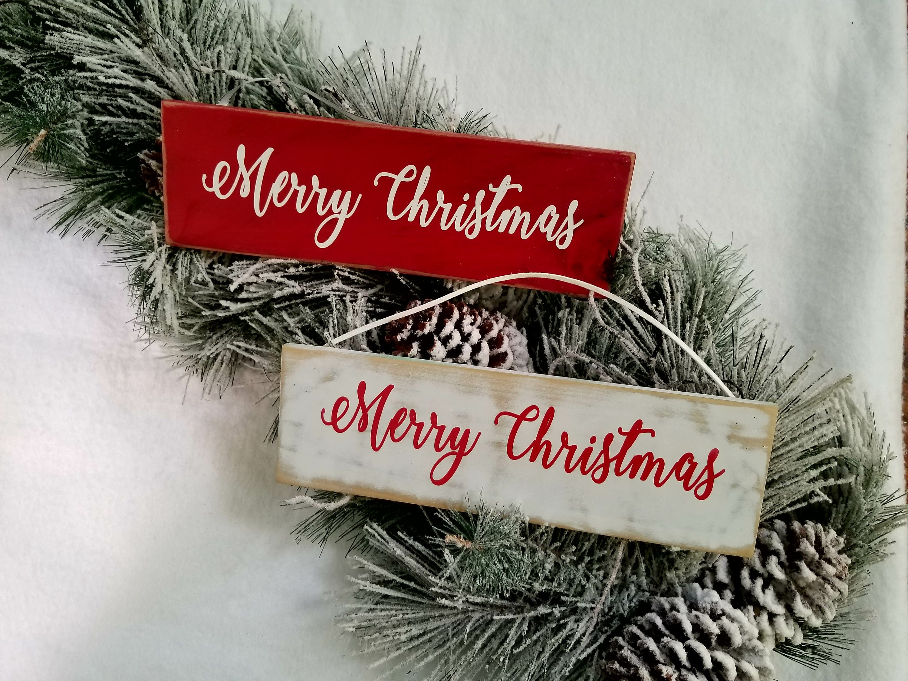 merry christmas sign rustic christmas decorations wood handmade farmhouse holiday ornaments decor signs gift