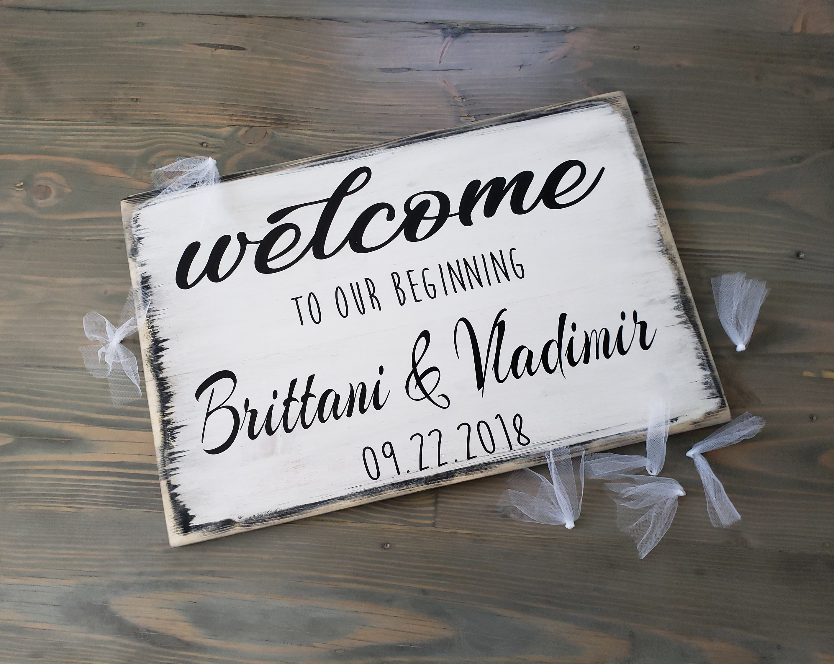Welcome Wedding Sign Wood Welcome To Our Beginning Sign Wedding