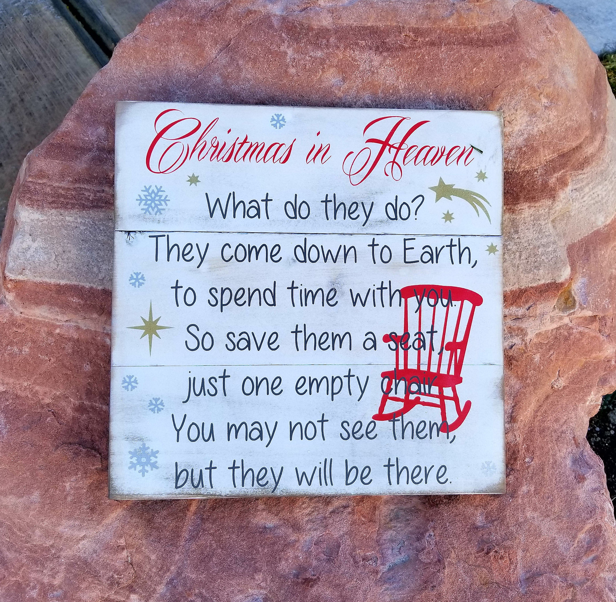 christmas in heaven with chair christmas in heaven sign christmas in heaven poem christmas in heaven memory piece rustic pallet sign