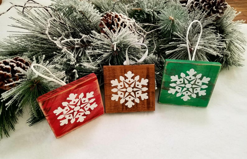 Rustic Christmas Ornaments Set Of 3 Wooden Handmade Etsy