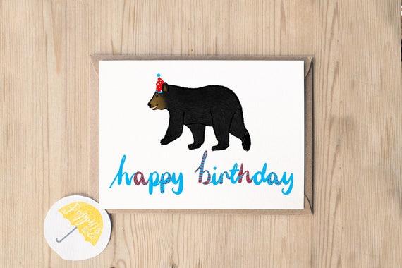 Bear Birthday Card Brown Bear Birthday Black Bear Card Etsy