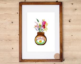Marmite Print | Kitchen Print | Marmite Poster | Marmite Illustration | Marmite Home Decor | Marmite Merchandise | Food Print | Marmite Jar
