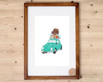VW Beetle Art Print | Car Art Print | Travel Print | Volkswagen Car Art | Vintage Car | Classic Car Art Print | Car Illustration | Fiat 500