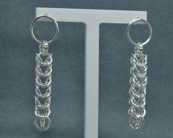 Sterling Silver long link earrings. Byzantine link.