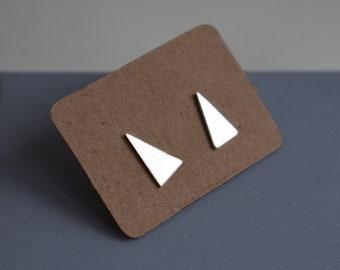 Handmade Silver Triangle studs
