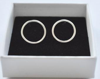 Mini Sterling silver 925 front circle hoop stud earrings