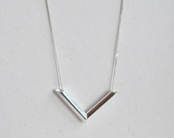 Unique Handcrafted sterling Silver Chevron pendant on fine sterling silver chain.