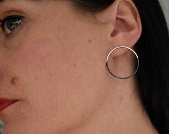 Hoop earrings half oxidised sterling silver front hoops