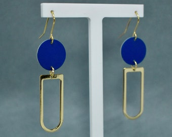 Blue and Gold Graphic Earrings