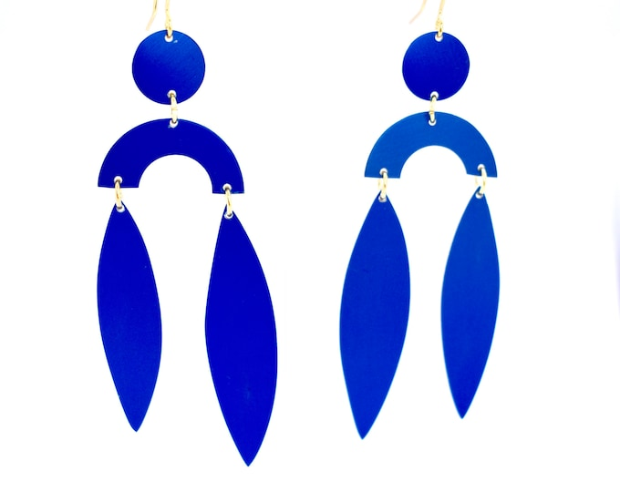 Featured listing image: Large Blue Statement Earrings, Inspired by Matisse, lightweight.