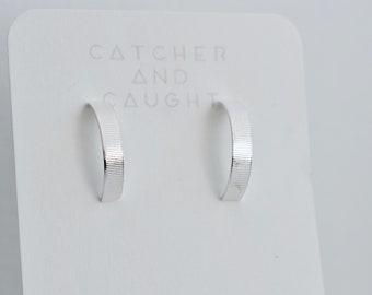Silver Half Hoop Earrings