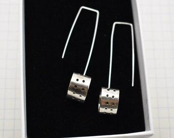 Oval Sterling Silver statement earrings.
