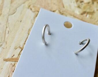 minimal huggie hoop earrings sterling silver studs