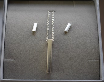 Sterling Silver Bar stud earrings and necklace gift set