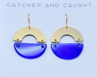 Royal blue glass and Gold Circle Earrings