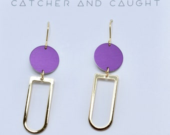Purple and Gold Graphic Earrings