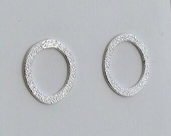 Silver Textured front hoop stud earrings