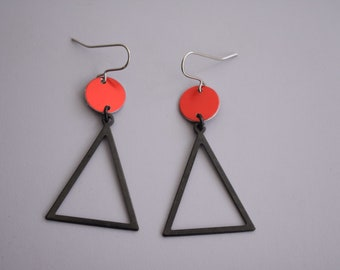 Red/green/blue and Black Bauhaus Earrings