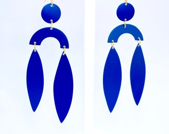 Large Blue Statement Earrings, Inspired by Matisse, lightweight.