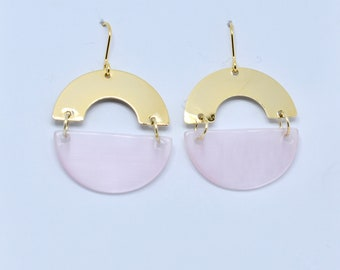 Gold and blush pink circle statement earrings.
