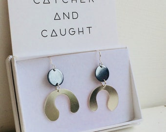 Sterling Silver Graphic Balance Earrings.  Inspired by Matisse