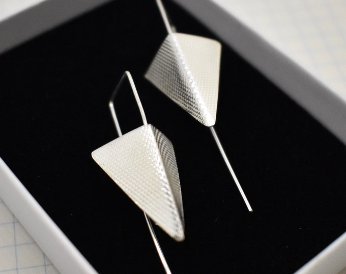 Featured listing image: Sterling Silver Triangle earrings. Long earrings.