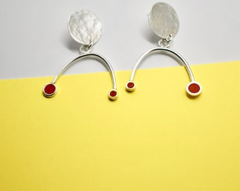 Sterling Silver 925 and red clay Statement Earrings.  Inspired by Miro.