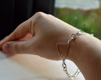 Sterling Silver Graphic Shapes link bracelet