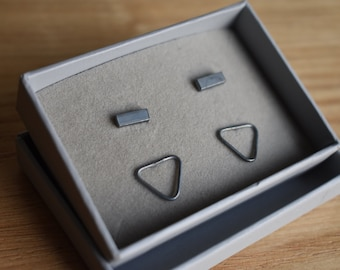 Sterling Silver Studs black oxidised gift set