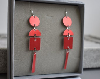 Red Bauhaus Lightweight Earrings
