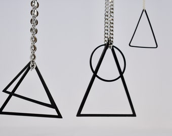 Long length Black and Sterling Silver Geometric Necklace, Graphic.