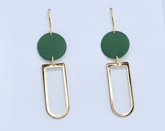 green and gold graphic earrings