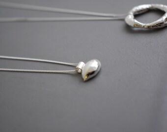 Molten silver nugget necklace