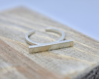 Sterling Silver open ring with square bar.  Minimal gift for her.Birthday gift, adjustable ring.