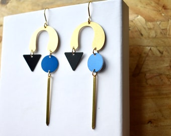 Large Blue and Gold Statement earrings, lightweight.