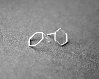 Sterling silver mini hexagon stud earrings