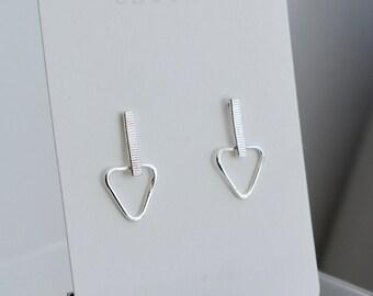 Drop triangle stud earrings