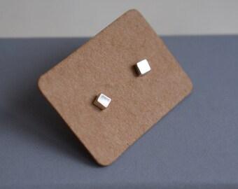 Handmade silver mini cube studs